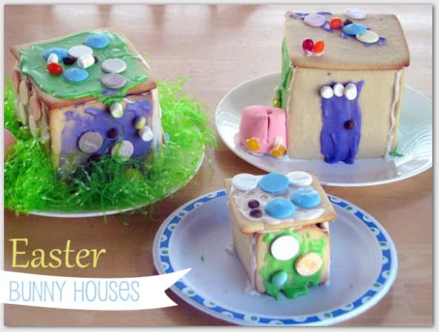 3 finished bunny houses on plates