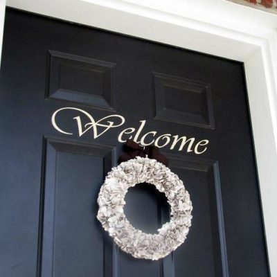 brown paper bag wreath on front door