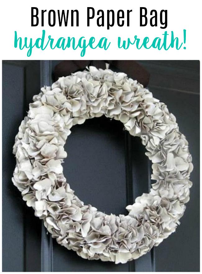 brown paper bag tutorial faux hydrangea wreath