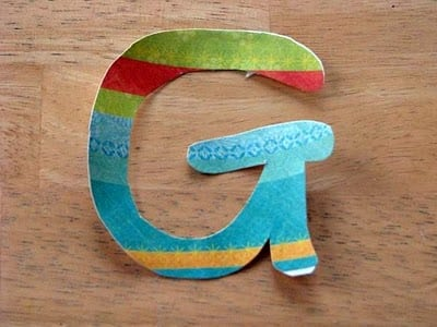 letter G wall decal made out of scrapbook paper