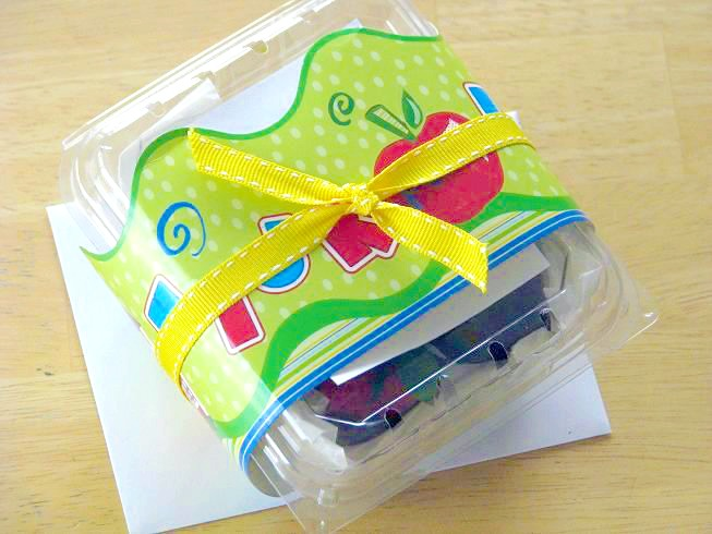 berry basket wrapped with ribbon