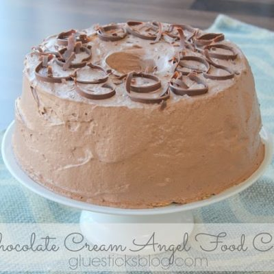 chocolate angel food cake on cake stand