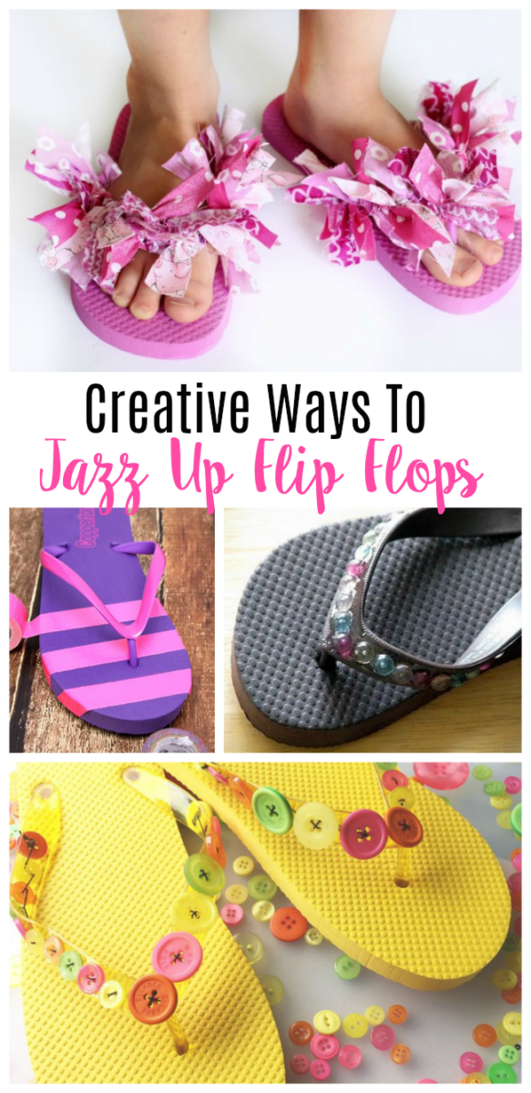 collage of different ways to decorate flip flops