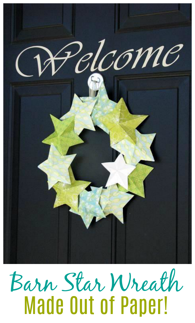 Can you believe that this wreath is made out of paper? I'll show you how to make you own 3-d barn stars to create a darling paper wreath for any holiday or occasion. EASY!