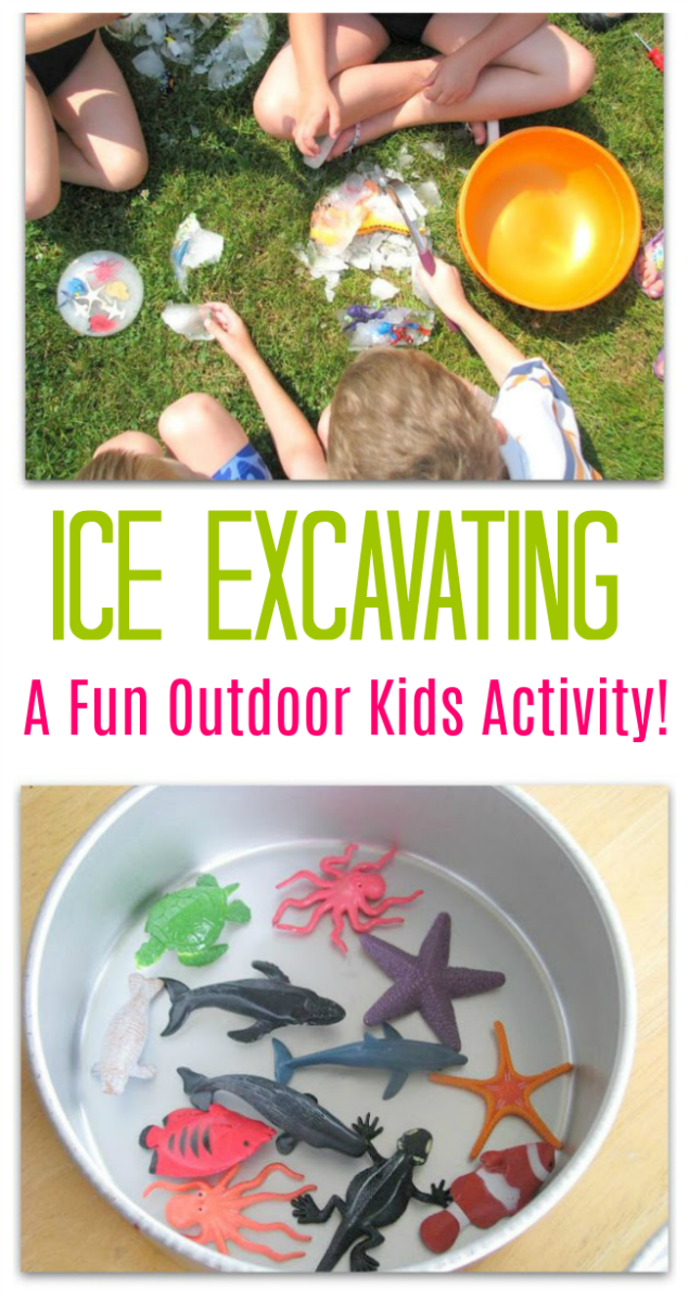 Fill cake pans with small toys and water. Freeze solid then empty onto the grass! Kids love excavating the small treasures with tools while the ice melts in the sun! A great summer outdoor kids activity!