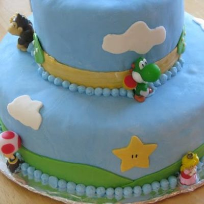 Mario cake with blue fondant