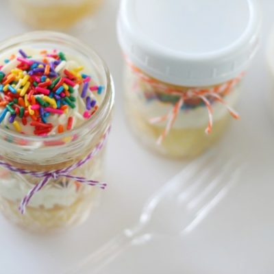 open jar with cupcakes and frosting inside