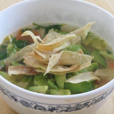 bowl of chicken avocado soup