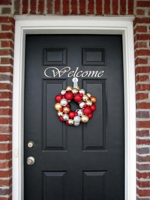 christmas ornament wreath on door