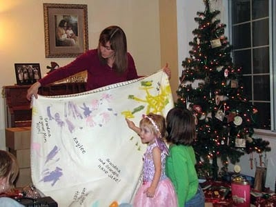 grandma and grandchild with blanket