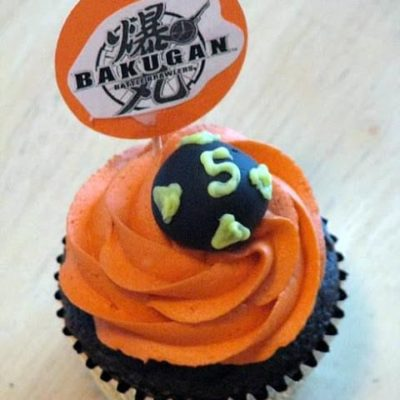 bakugan cupcake with orange frosting