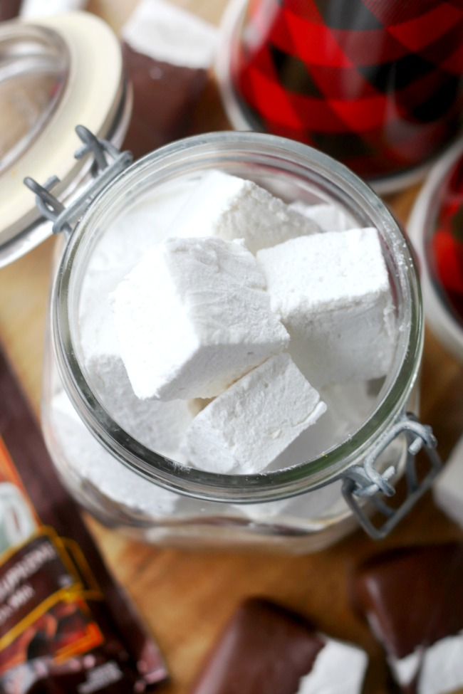 large homemade marshmallows in jar