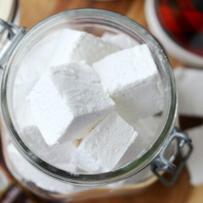 glass jar with marshmallows