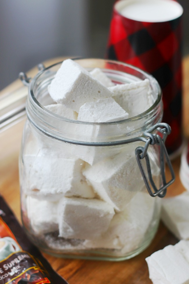 glass jar filled with homemade marshmallows