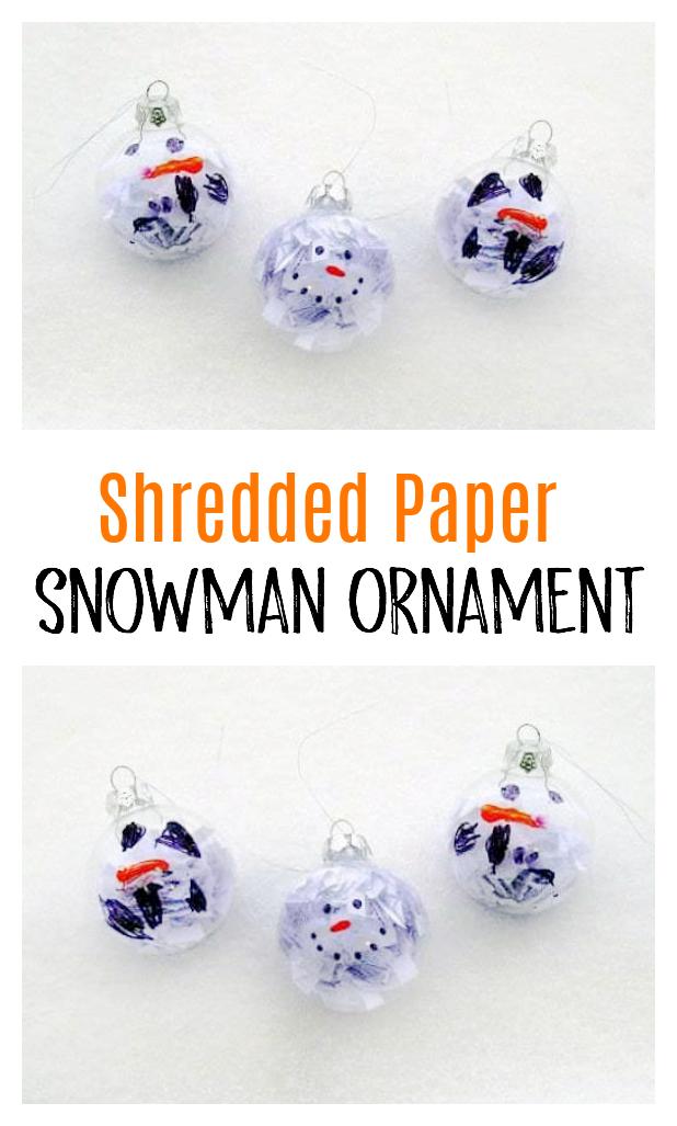 3 shredded paper snowmen ornaments