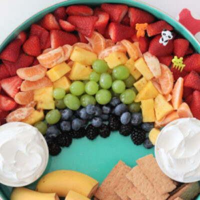 rainbow fruit platter with cool whip for dipping
