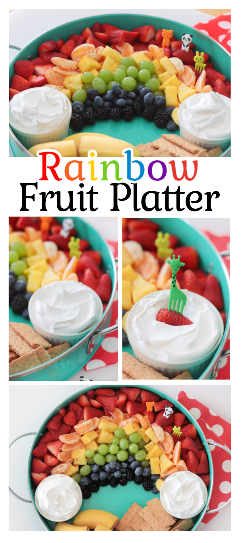 rainbow fruit platter and fruit picks