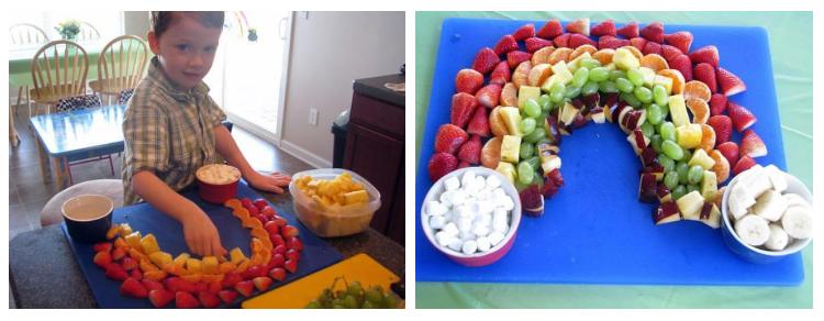 little boy making fruit platter