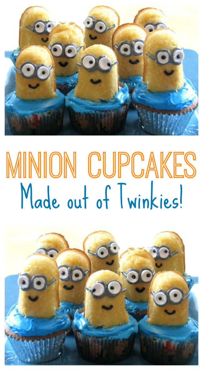 collage of minion Twinkie cupcakes