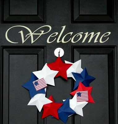 star wreath hanging on front door