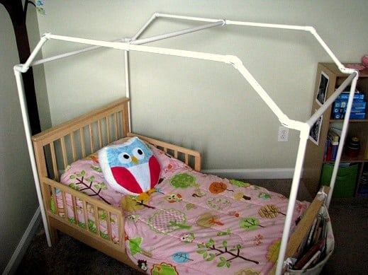 Pvc framed canopy bed gluesticks for Diy baby crib canopy