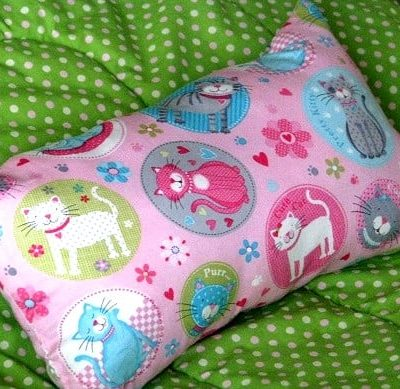 pink pillow with cat print