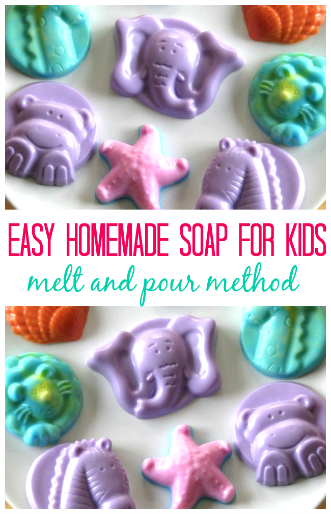 Homemade glycerin soap is fun to customize! Use melt and pour glycerin blocks to create fun soaps with kids! Experiment with different colors, soap molds, and scents to create unique combinations.