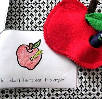 felt apple and worm
