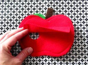 felt apple with flap