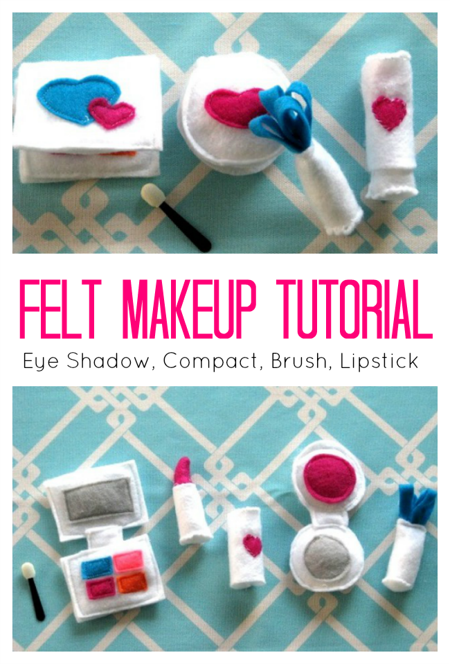 Make a set of felt makeup to add to your little lady's dress up box! A compact, lipstick, makeup brush, and eye shadow. All made from felt!