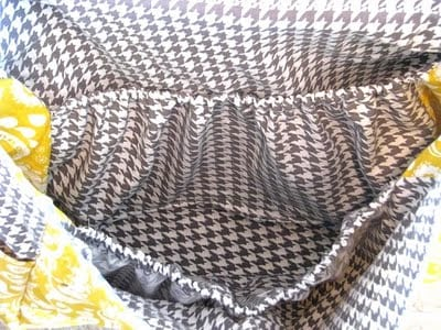 inside of messenger bag with fabric divider