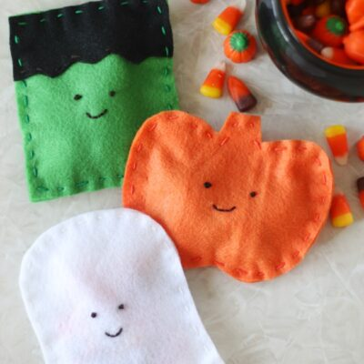 frankenstein, pumpkin and ghost candy pouches