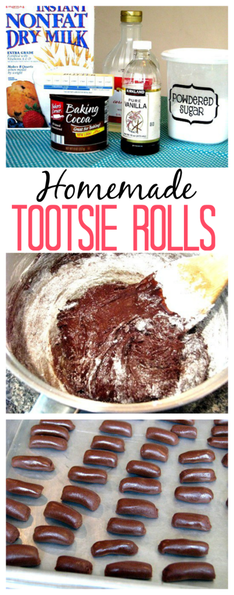 Did you know that you can make homemade Tootsie Rolls out of basic baking ingredients! It's true! Baking cocoa, powdered sugar, dry milk, vanilla and corn syrup. They are a fun and easy treat to make with the kids.