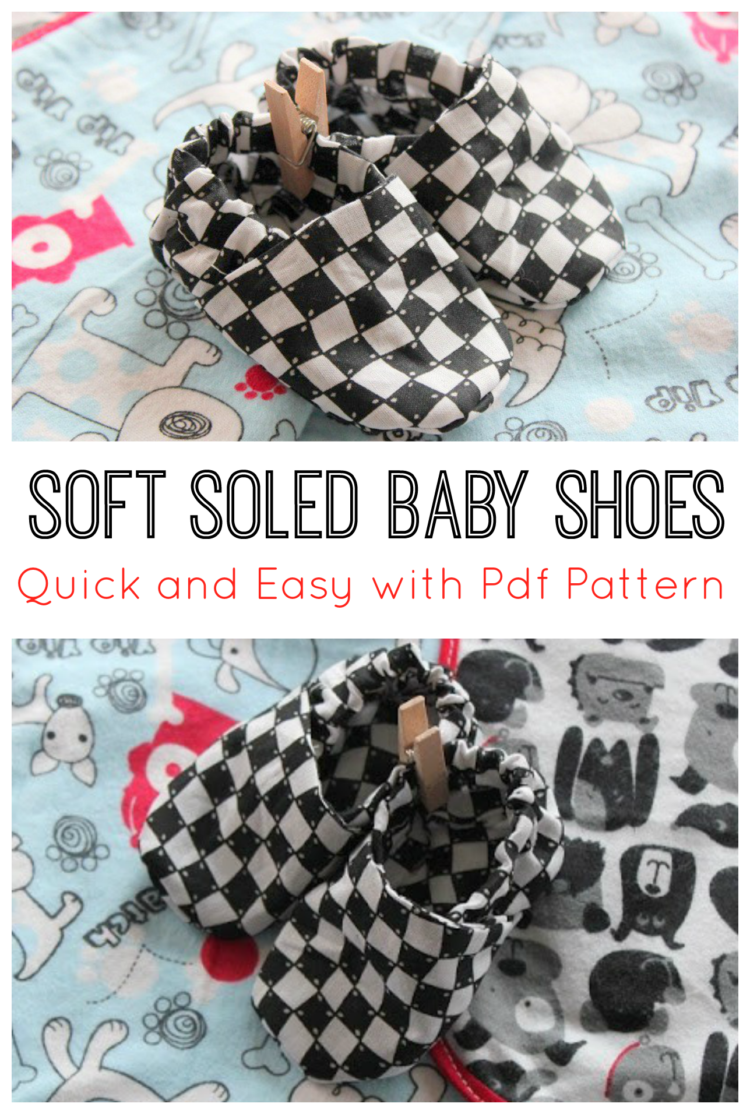 fabric baby shoes on baby blanket