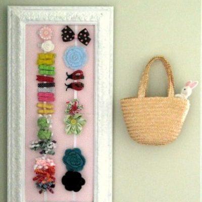 framed hair bow holder on wall