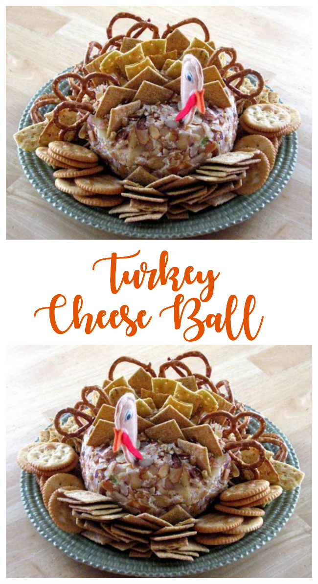 A darling thanksgiving turkey cheese ball that is sure to be a crowd pleaser this year! Serve with crackers and pretzels!