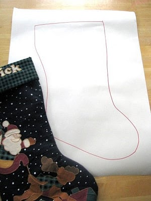 easy stocking pattern drawn on paper