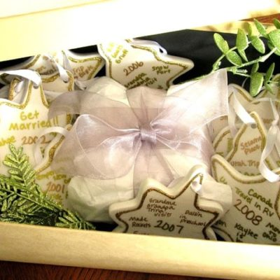 box of personalized ornaments