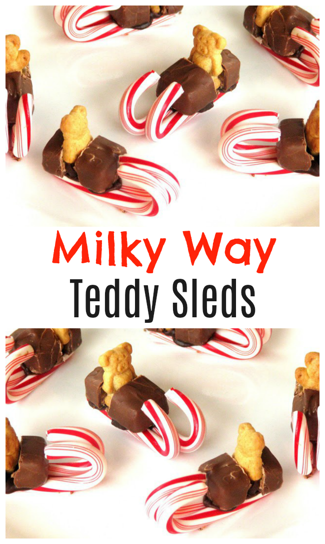 These cute Milky Way Teddy Sleds are perfect for class party treats at school and are easy to make! Make a batch to share at school or let the kids make their own!