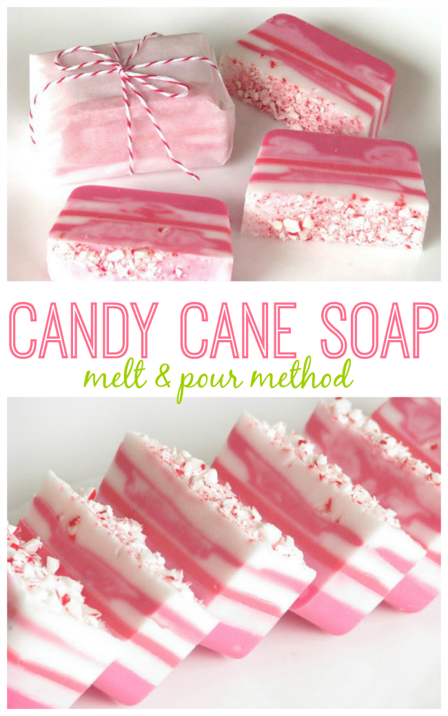 6 candy cane soaps arranged on white surface