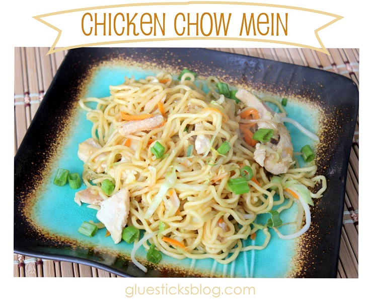 chicken chow mein on plate