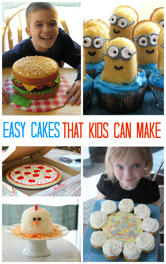 collage of cakes that kids can make