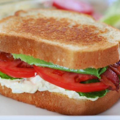 egg salad blt on plate