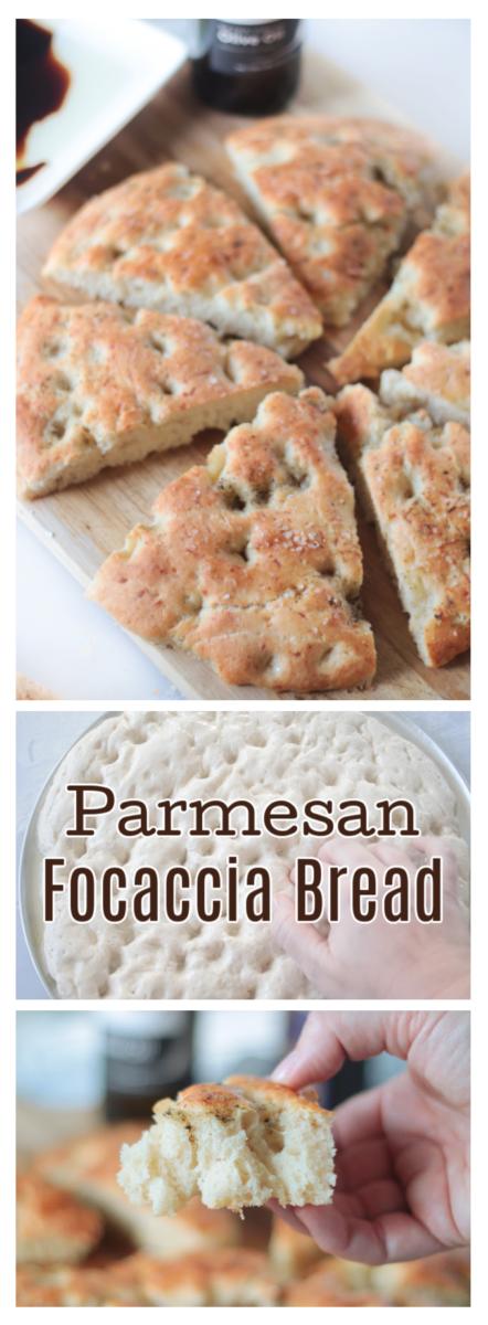 parmesan focaccia bread on cutting board