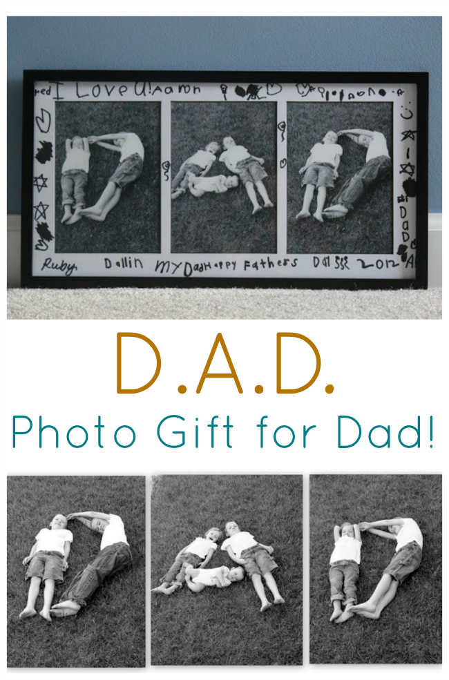 Kids will love getting creative to make this gift for Dad! Pose them in the letters: D.A.D., snap a few photos and frame in a photo collage frame. We used 5x7, but any size would work!
