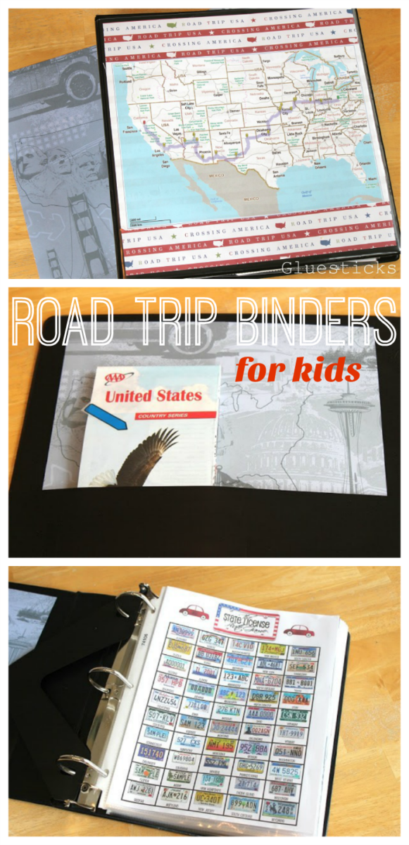 black binder with road map on front
