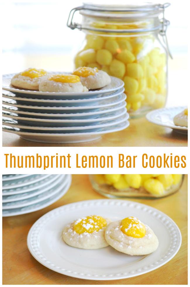 thumbprint lemon bar cookies on stack of white plates