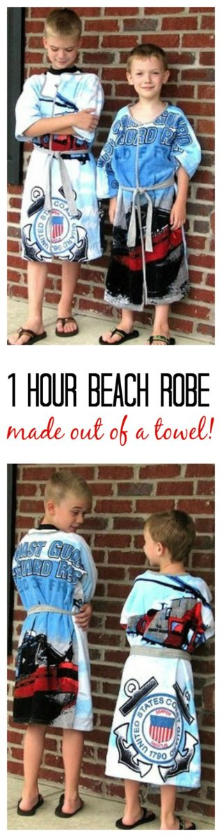 Make a beach robe in an hour using a beach towel with our beach robe tutorial! An easy project that will keep your kids dry after swim lessons or at the beach!