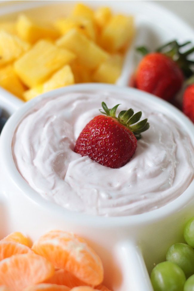 fresh fruit with fruit dip