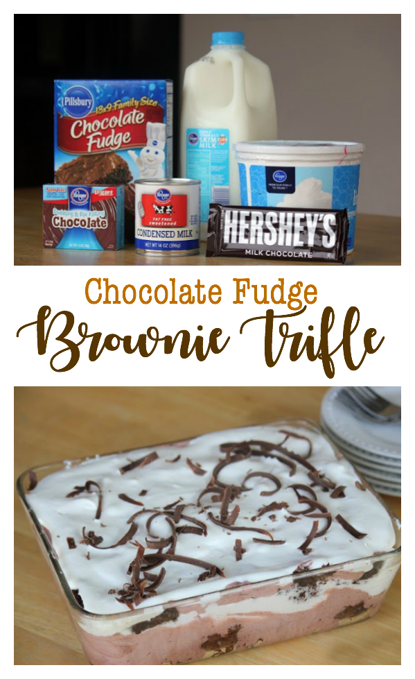 Brownies, chocolate pudding, whipped cream are layered to create this chocolatefudge brownie trifle. It sounds fancy, but it SUPER easy to make.